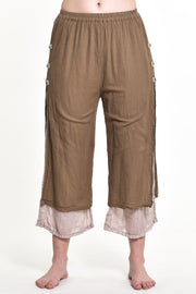 Womens Solid Color Double Layers Cropped Pants in Brown