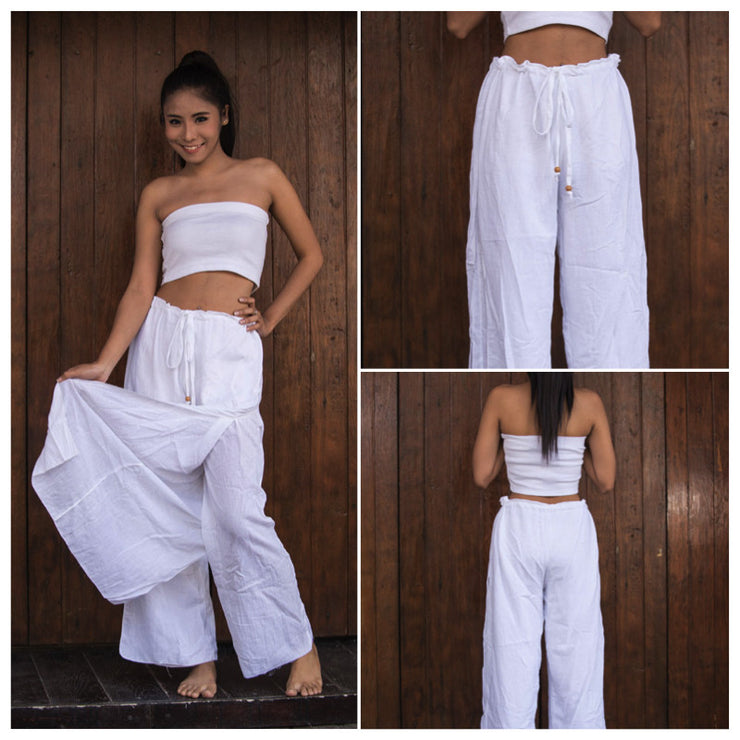Womens Solid Color Double Layered Palazzo Pants in White