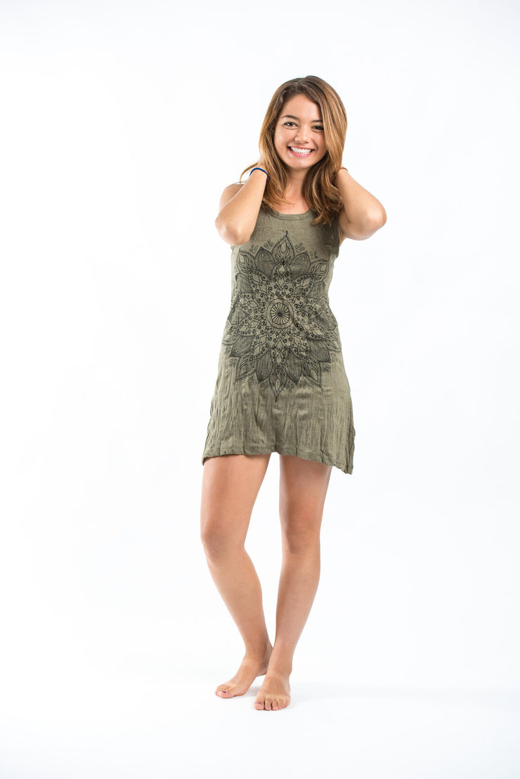 Womens Lotus Mandala Tank Dress in Green
