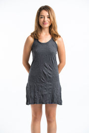 Womens Solid Color Tank Dress in Black