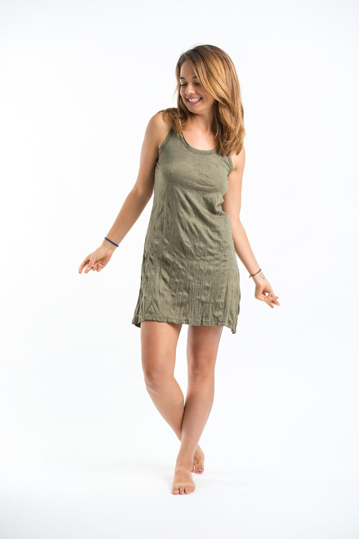 Womens Solid Color Tank Dress in Green