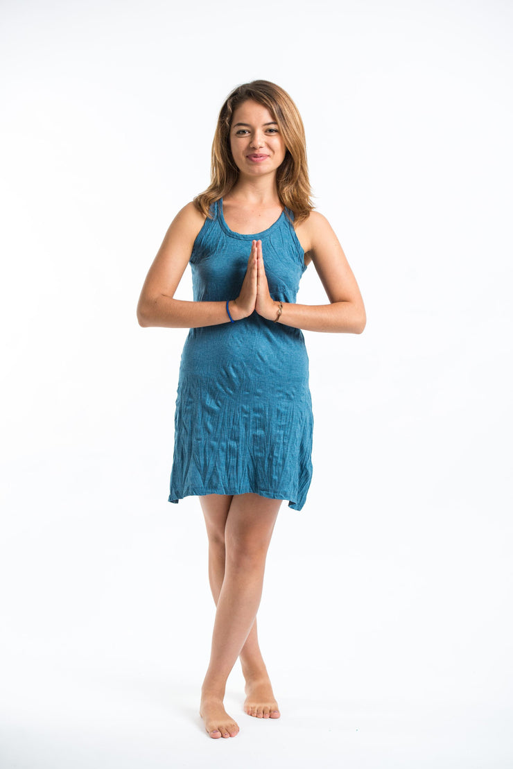 Womens Solid Color Tank Dress in Denim Blue