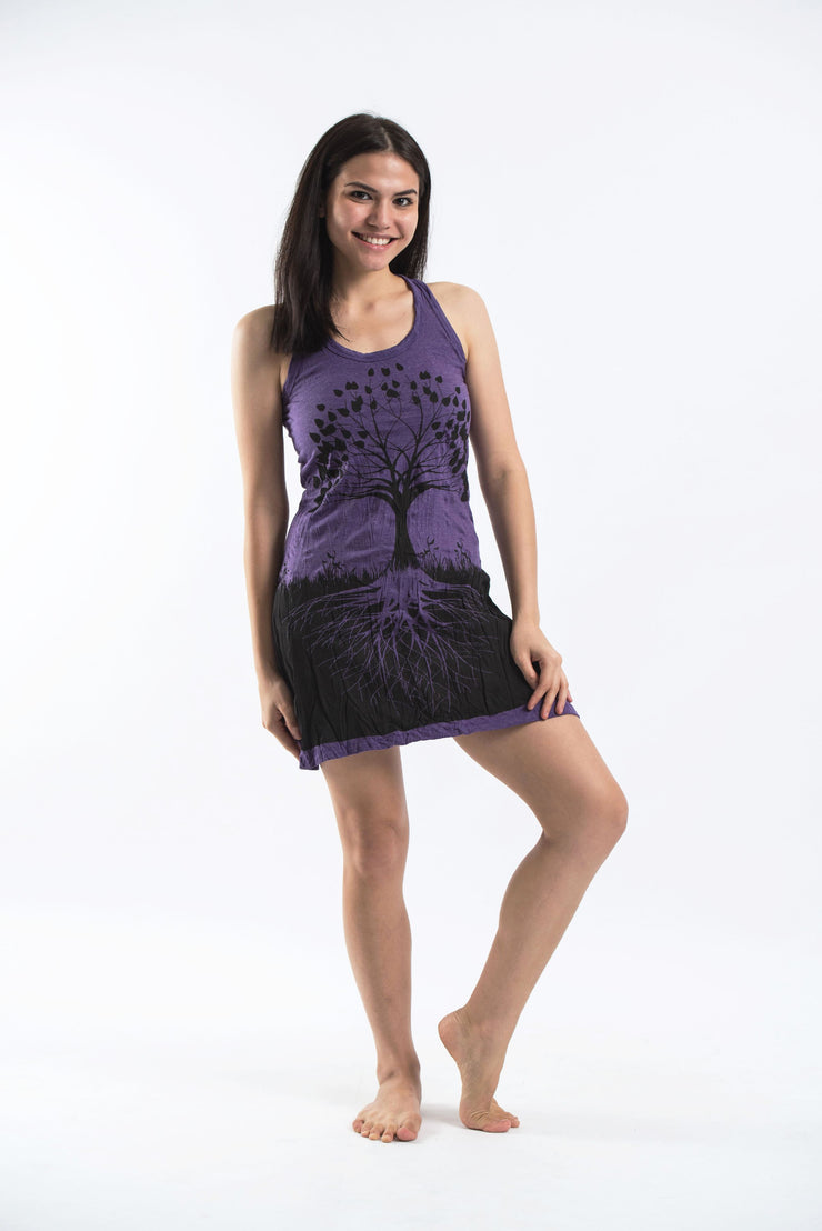 Womens Tree of Life Tank Dress in Purple