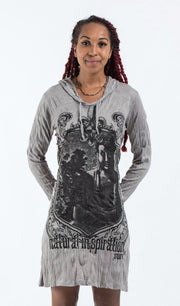Womens Antique Buddha Hoodie Dress in Gray