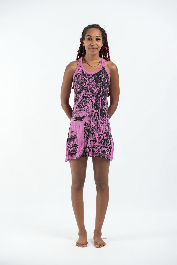 Womens Butterfly Buddha Tank Dress in Pink