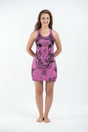Womens Big Face Ganesh Tank Dress in Pink