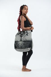 Tree of Life Oversize Drawstring Shoulder Bag  in Denim Gray