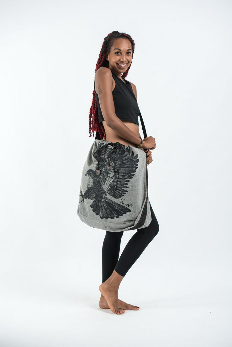 Eagle Oversize Drawstring Shoulder Bag  in Denim Gray