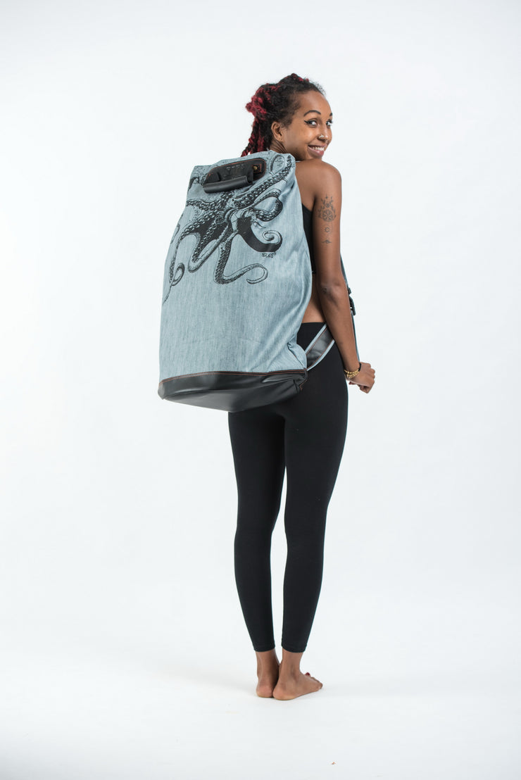 Octopus Denim Oversize Backpack in Denim Blue