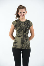 Womens Butterfly Buddha T-Shirt in Green