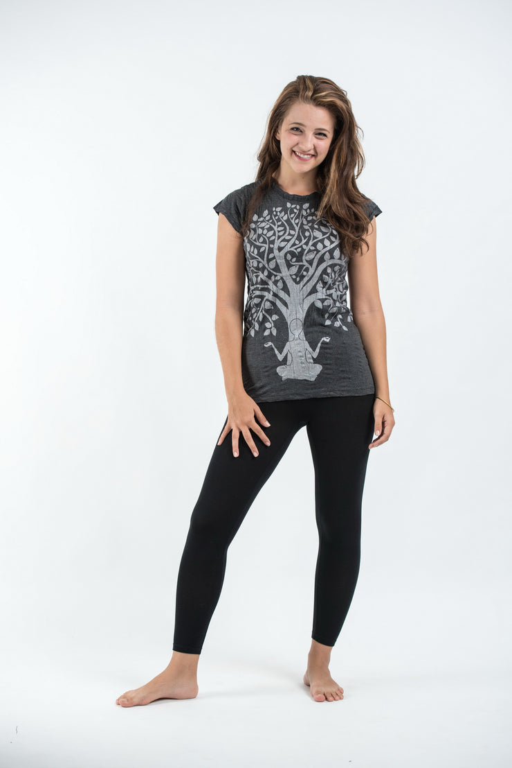 Womens Meditation Tree T-Shirt in Silver on Black