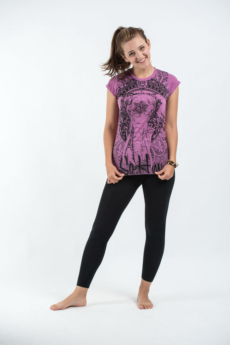 Womens Wild Elephant T-Shirt in Pink