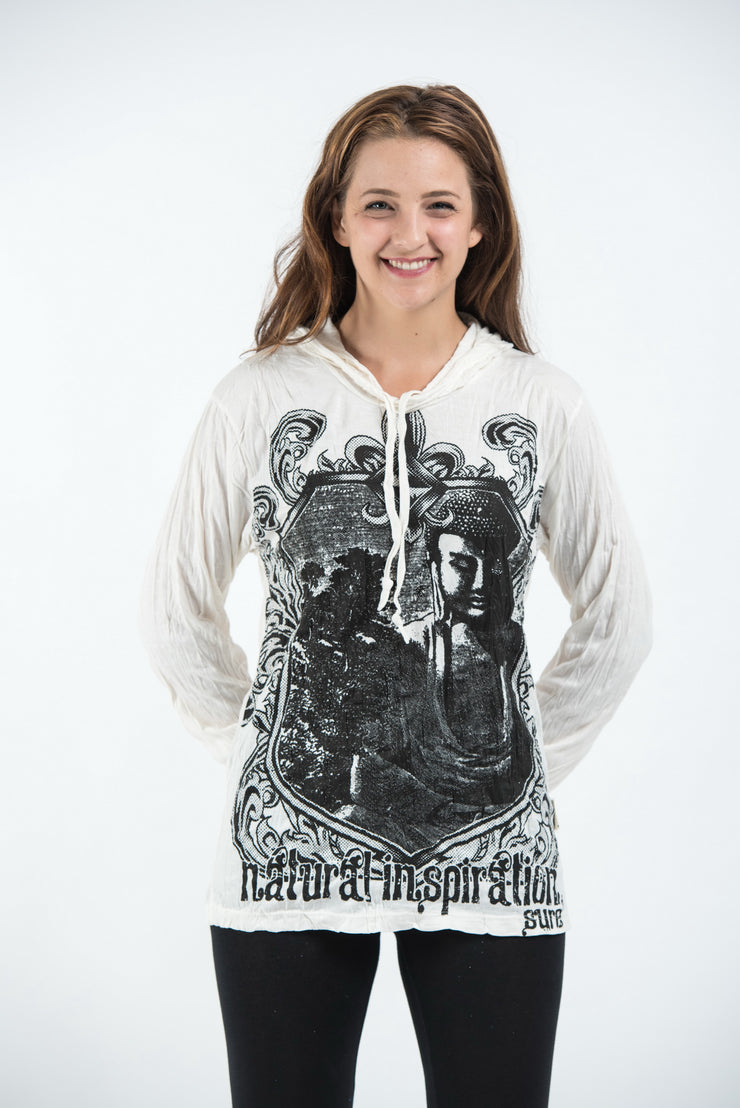 Unisex Antique Buddha Hoodie in White