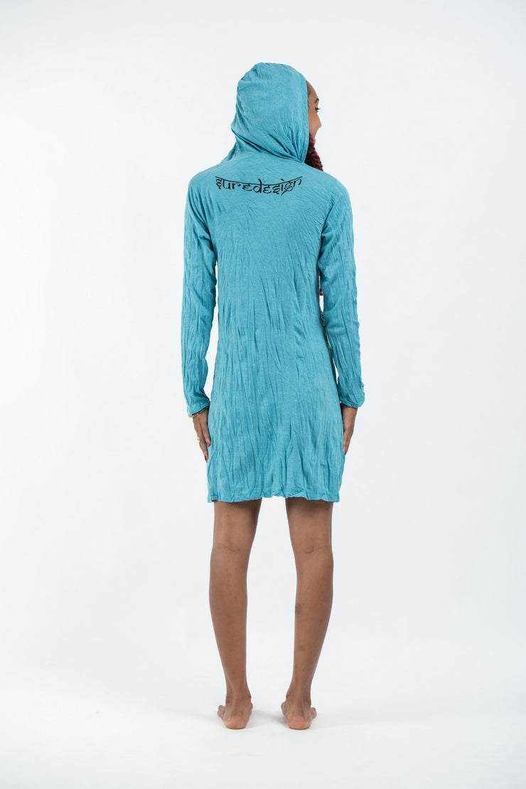 Womens Meditation Buddha Hoodie Dress in Turquoise