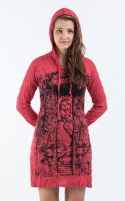 Womens Meditation Buddha Hoodie Dress in Red