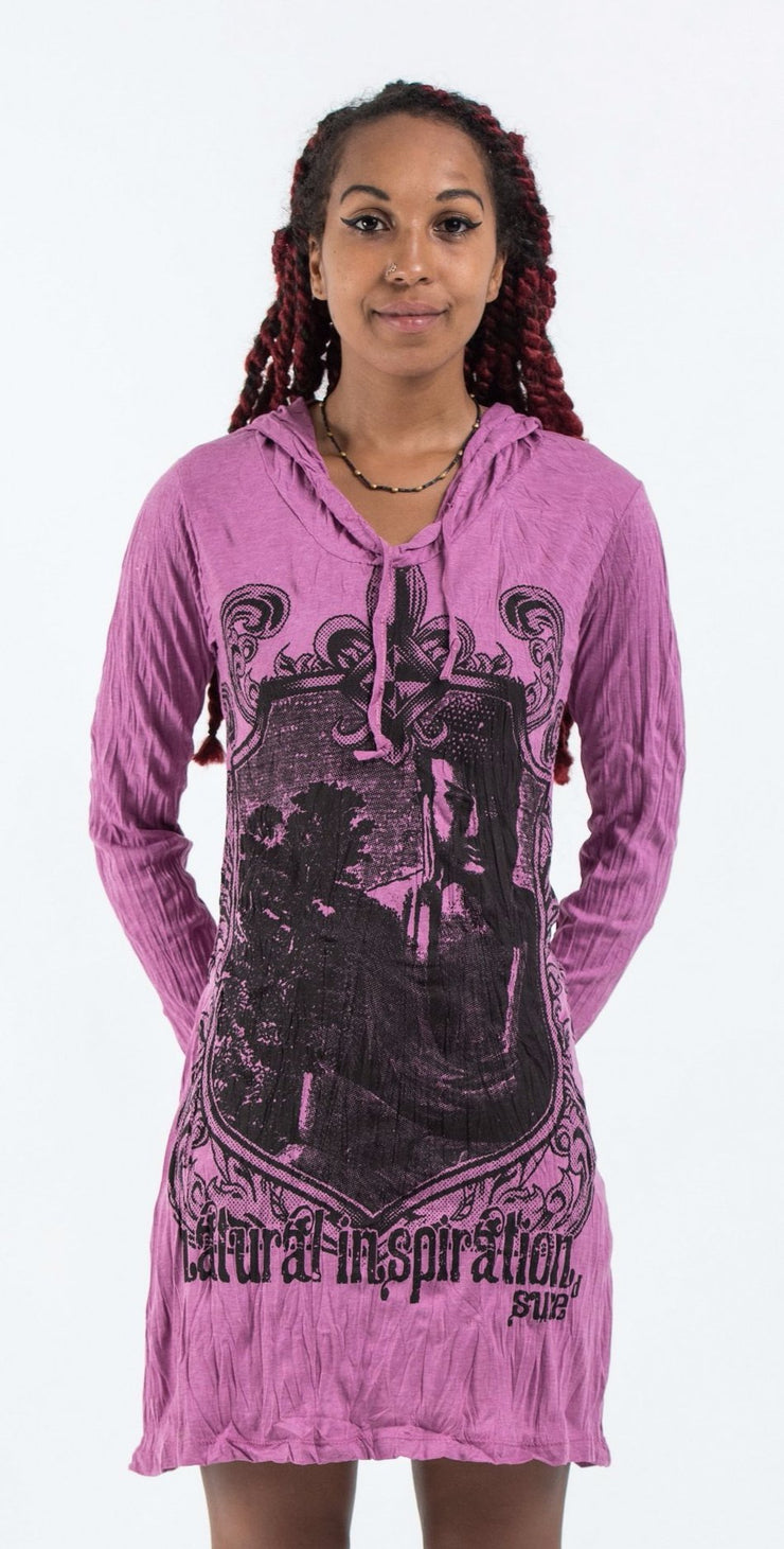 Womens Antique Buddha Hoodie Dress in Pink