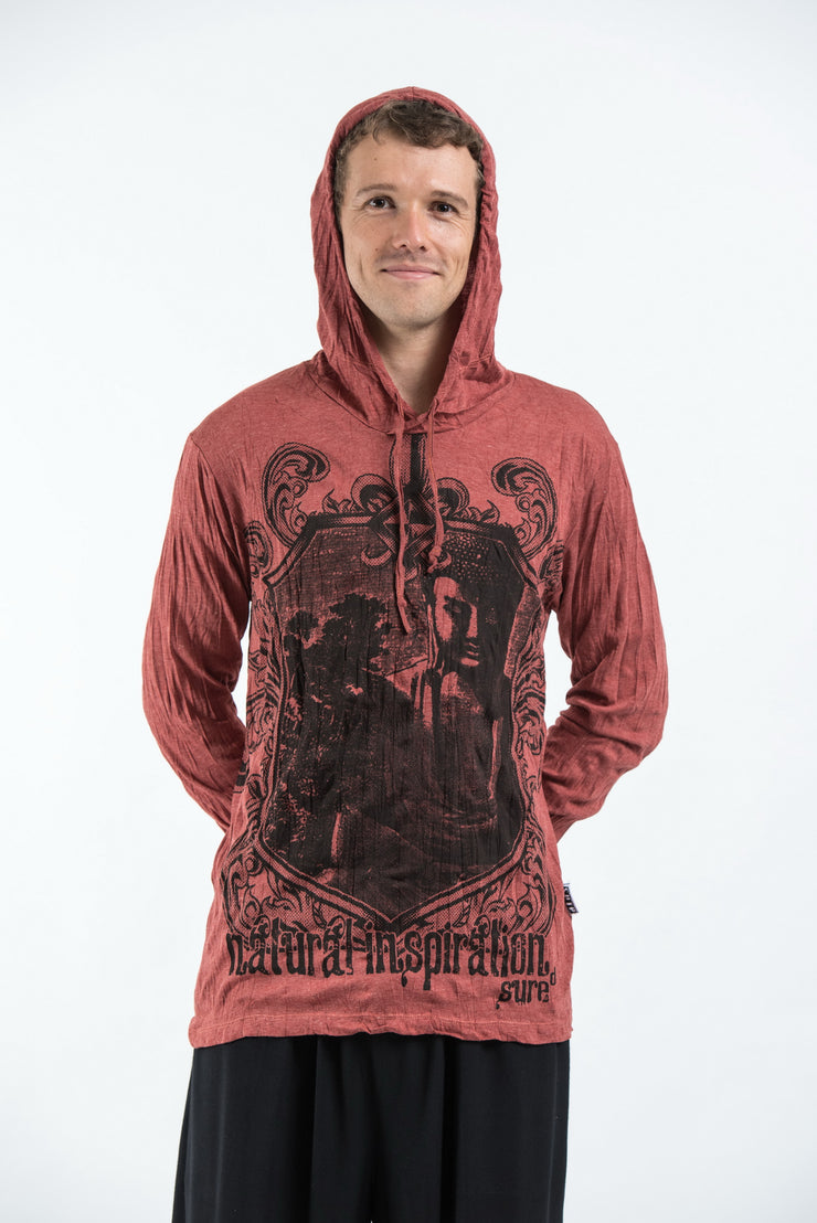 Unisex Antique Buddha Hoodie in Brick