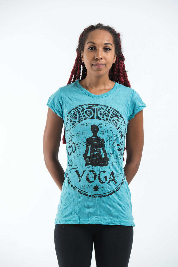 Womens Infinitee Yoga Stamp T-Shirt in Turquoise