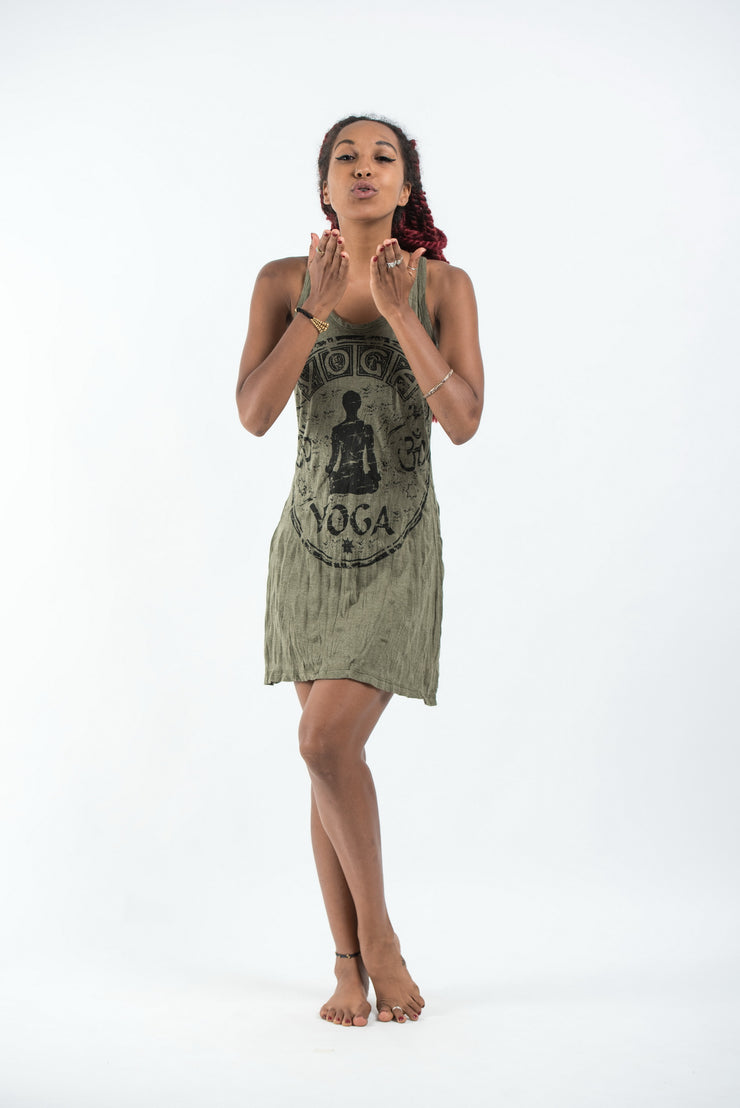 Womens Infinitee Yoga Stamp Tank Dress in Green