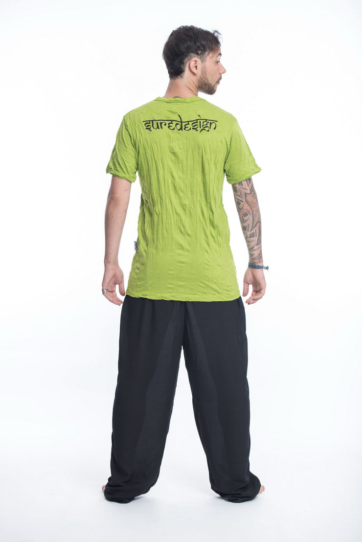 Mens Om Buddha Face T-Shirt in Lime