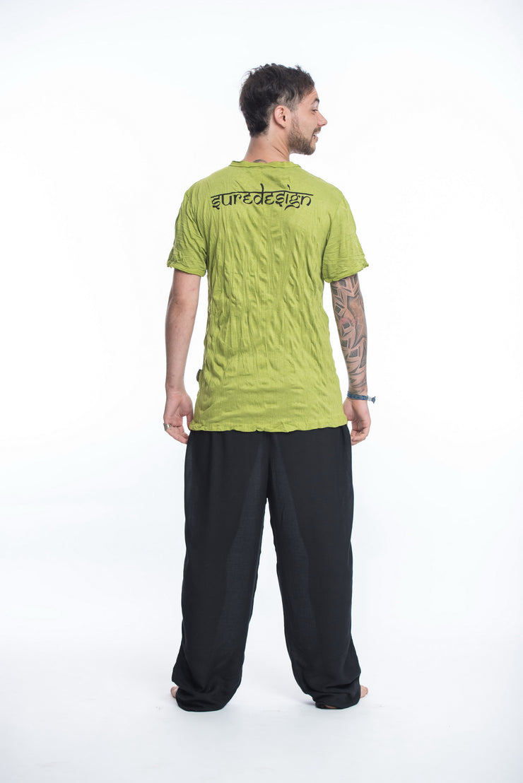 Mens Buddha Face T-Shirt in Lime