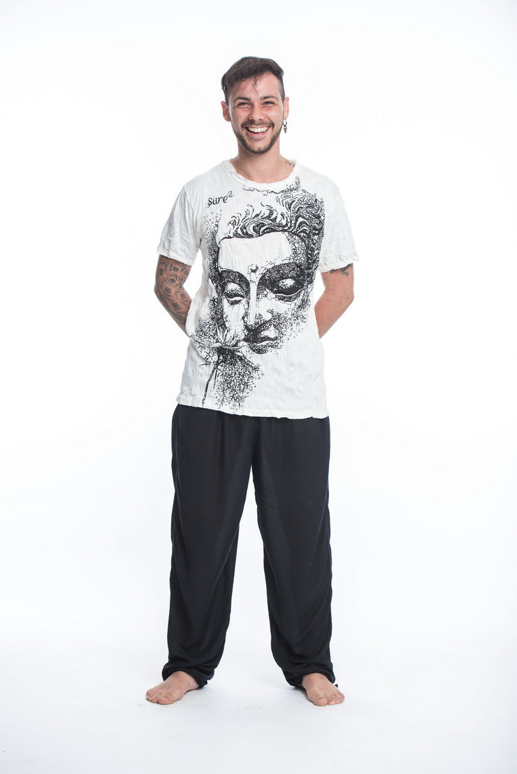 Mens Buddha Face T-Shirt in White