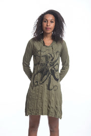 Womens Octopus Hoodie Dress in Green