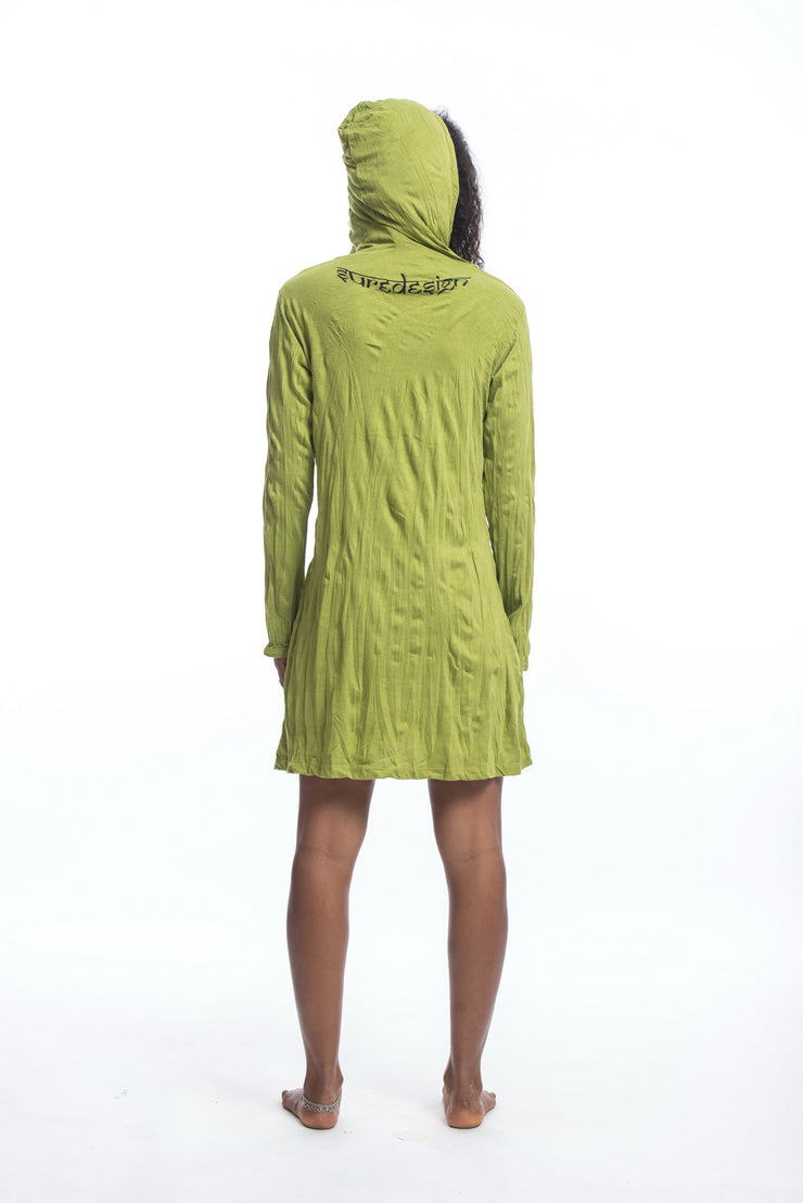 Womens Octopus Hoodie Dress in Lime