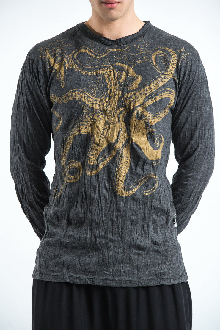 Unisex Octopus Long Sleeve T-Shirt in Gold on Black