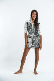 Womens Butterfly Buddha Hoodie Dress in White