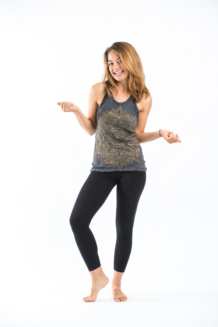 Womens Lotus Mandala Tank Top in Gold on Black
