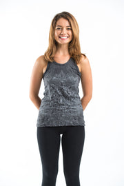 Womens Lotus Mandala Tank Top in Silver on Black