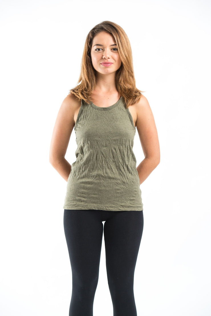 Womens Solid Color Tank Top in Olive