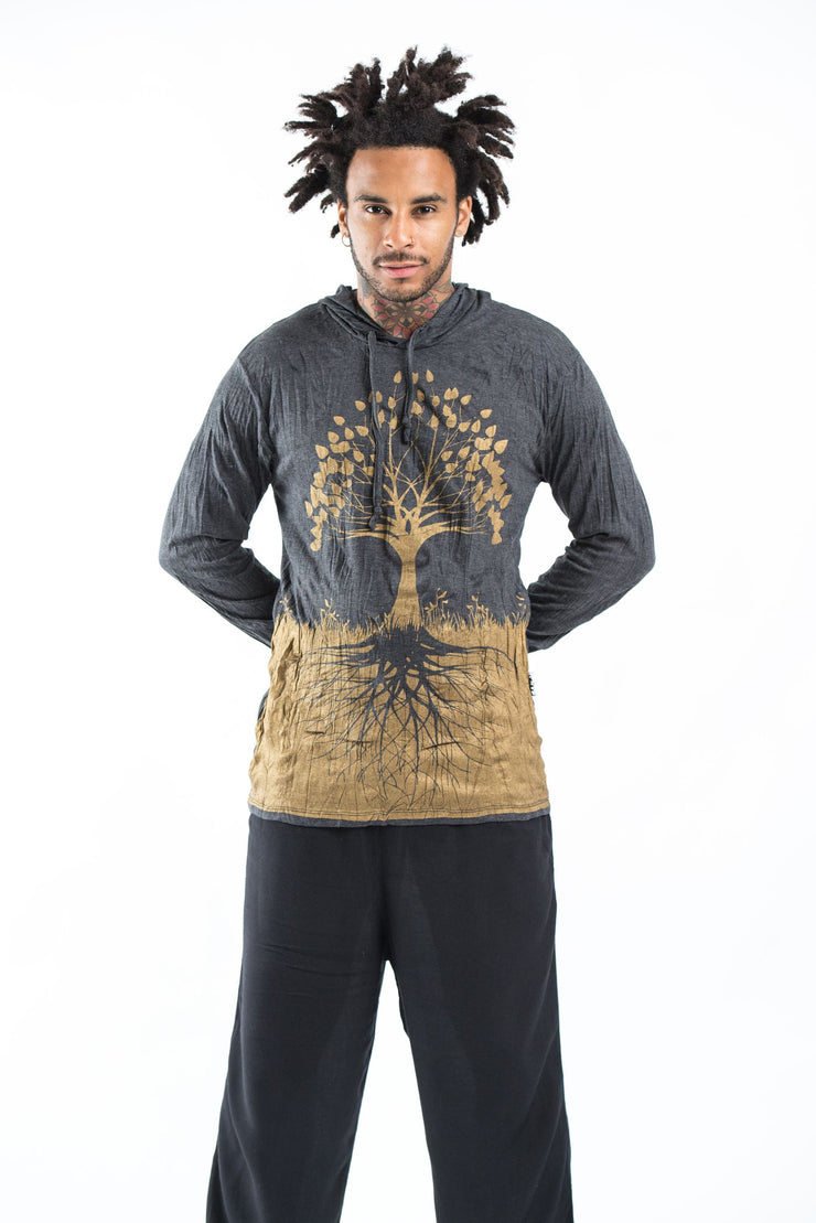 Unisex Tree of Life Hoodie in Gold on Black
