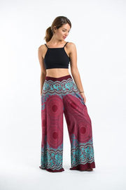 Womens Geometric Mandalas Palazzo Pants in Red