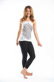 Womens Lotus Mandala Tank Top in White