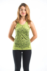 Womens Lotus Mandala Tank Top in Lime