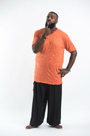 Plus Size Mens Solid Color T-Shirt in Orange