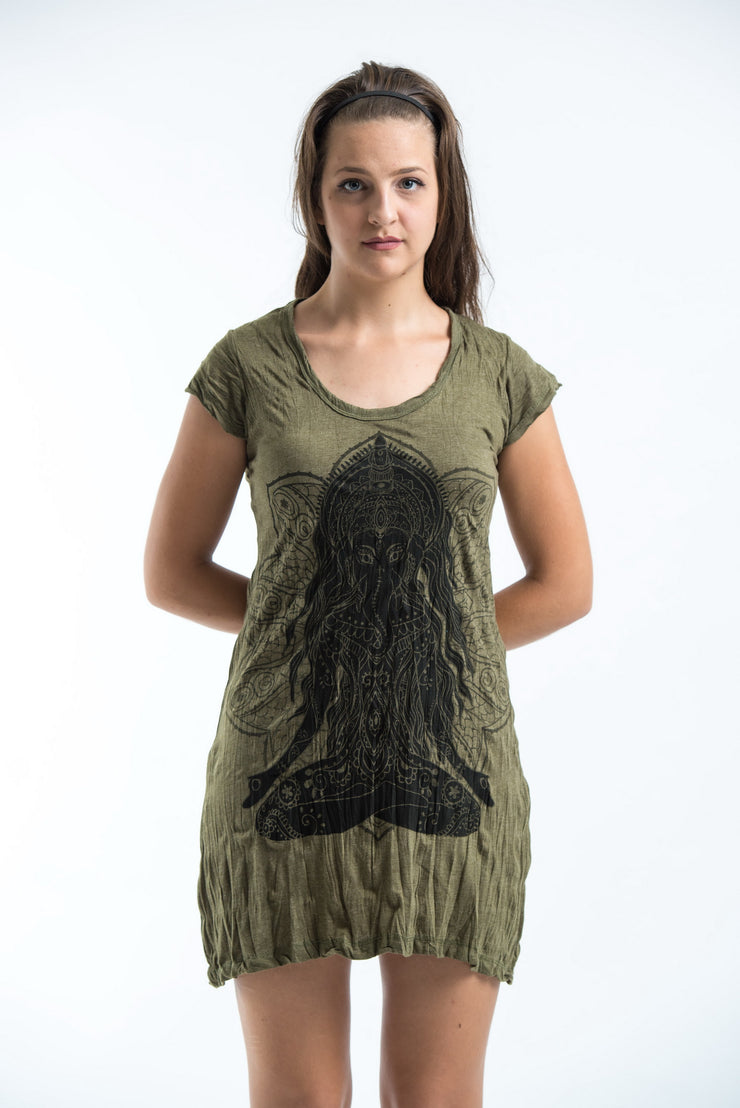 Womens Ganesh Mantra Dress in Green