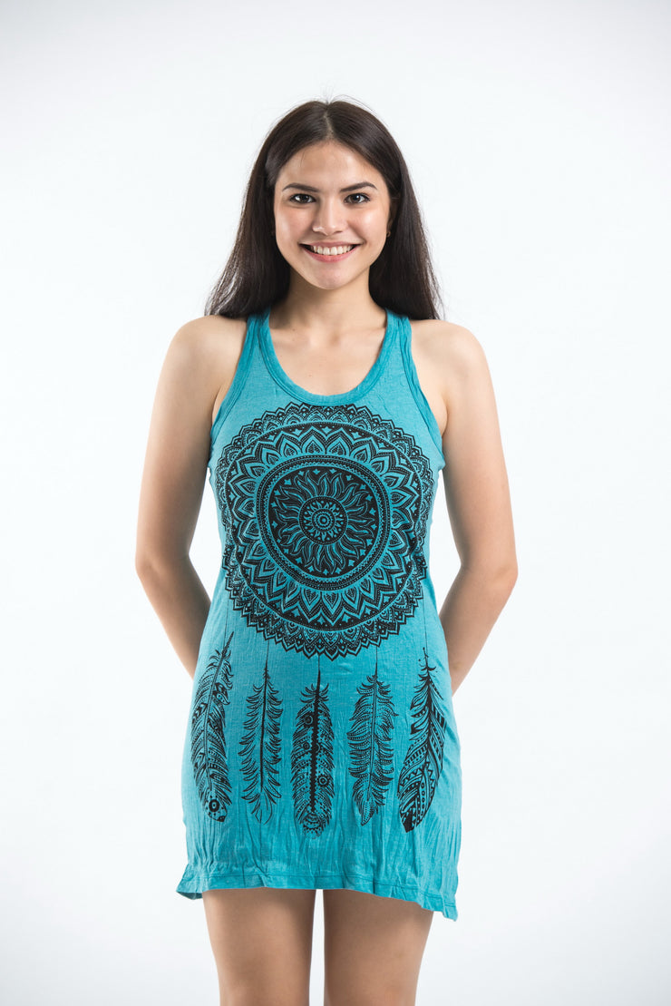 Womens Dreamcatcher Tank Dress in Turquoise