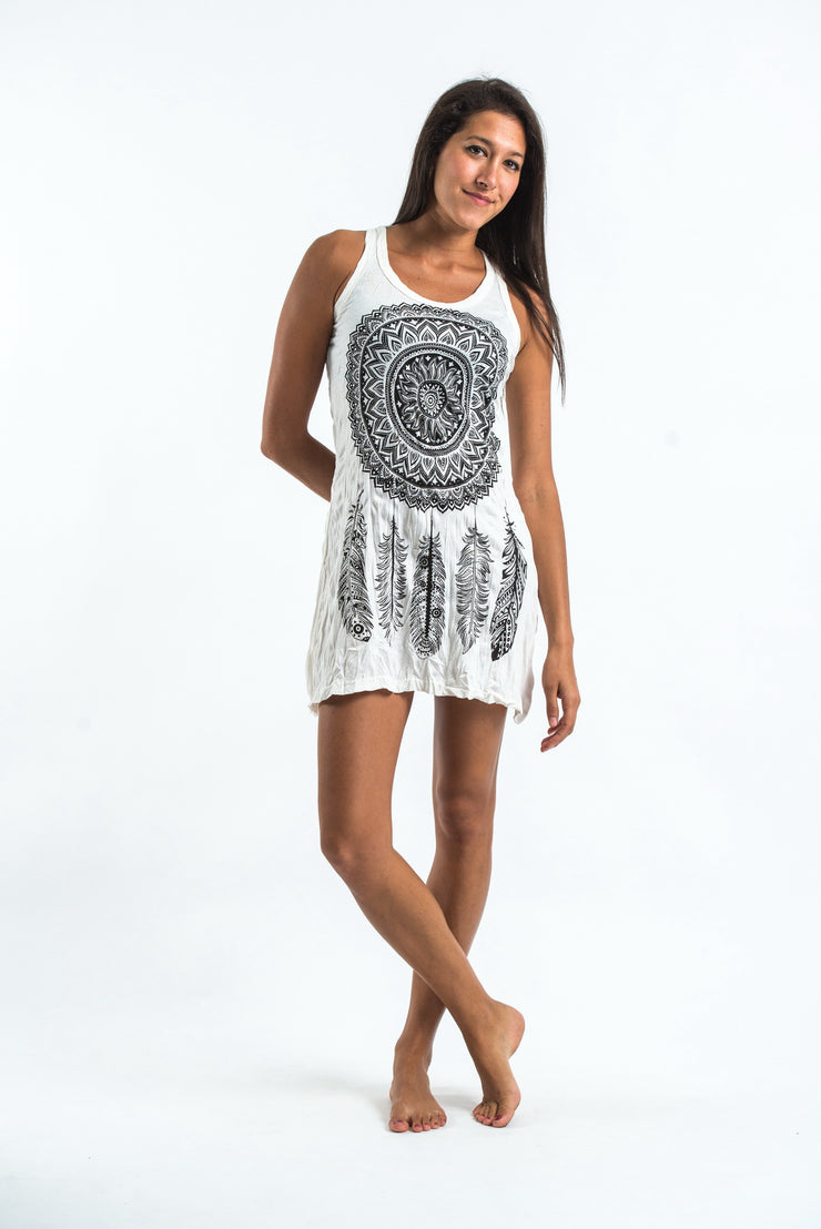 Womens Dreamcatcher Tank Dress in White