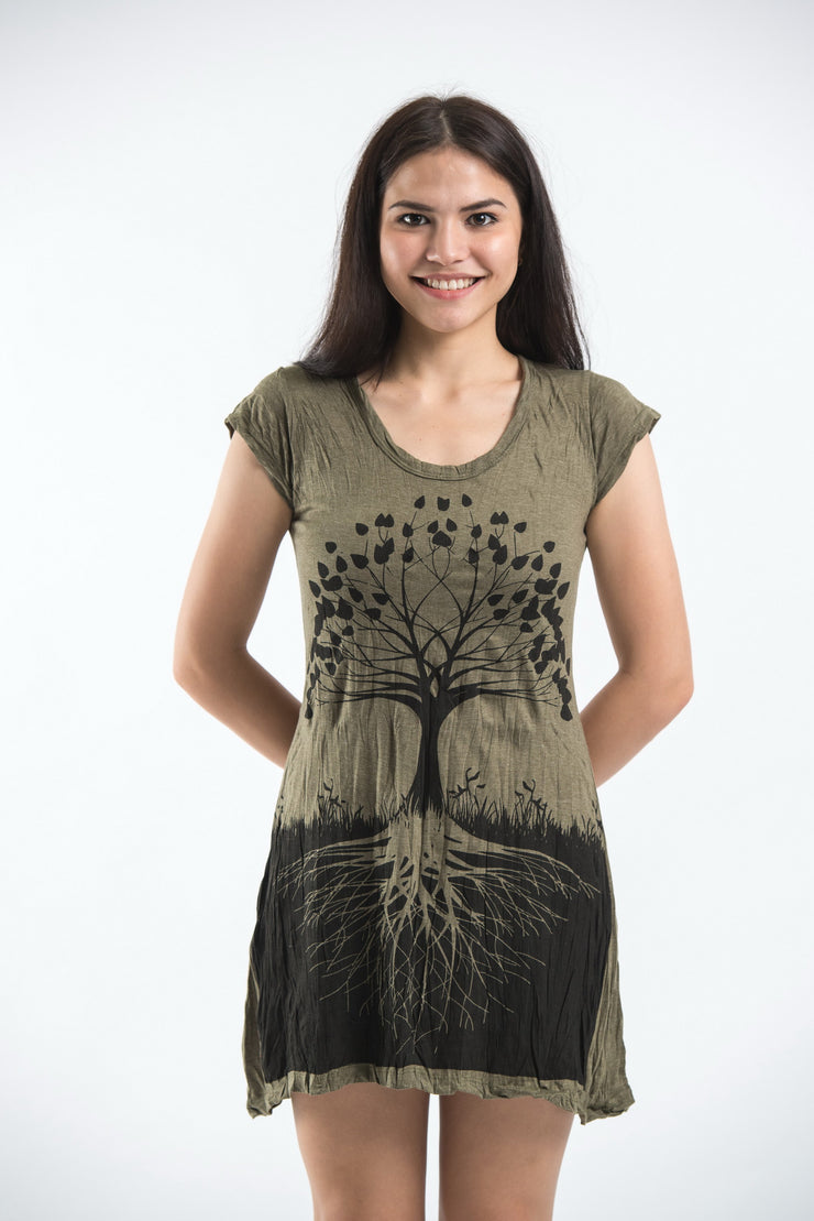 Womens Tree of Life Dress in Green