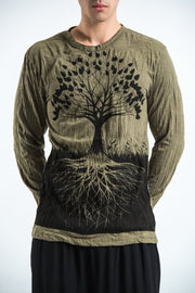 Unisex Tree of Life Long Sleeve T-Shirt in Green