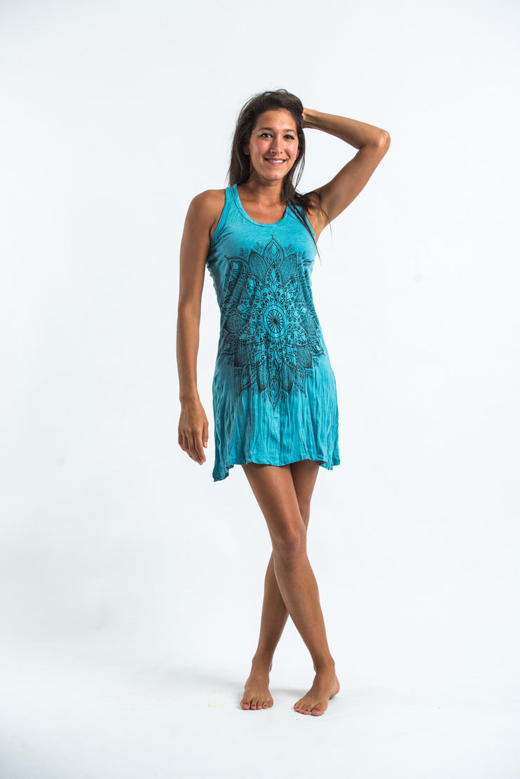 Womens Lotus Mandala Tank Dress in Turquoise