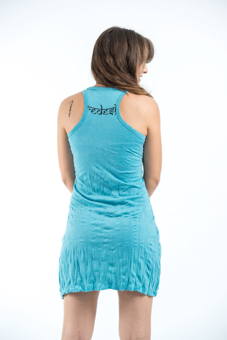 Womens Om hands Tank Dress in Turquoise