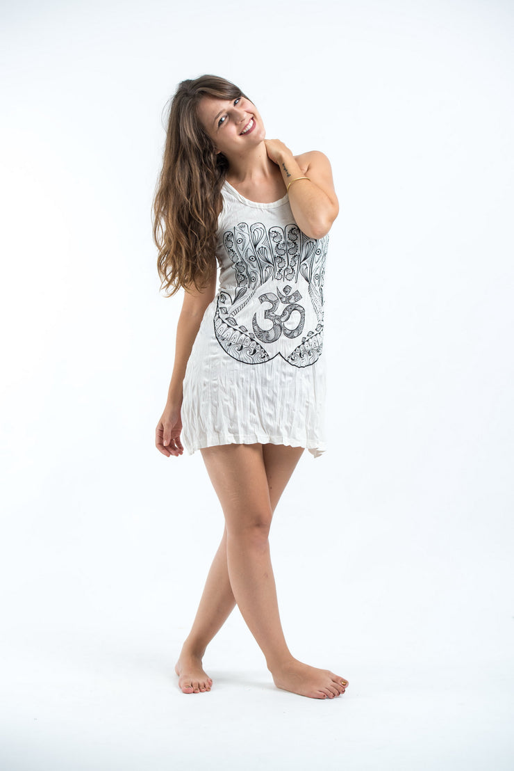 Womens Om hands Tank Dress in White