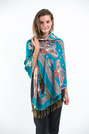 Nepal Elephant Pashmina Shawl Scarf in Blue