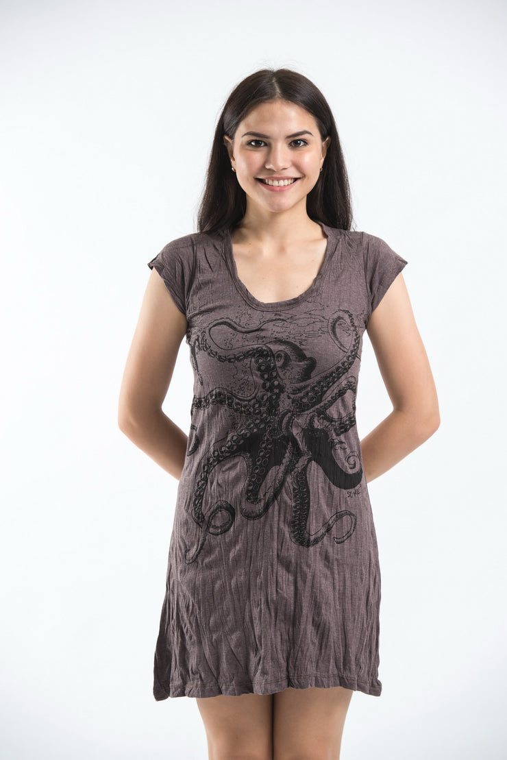 Womens Octopus Dress in Brown