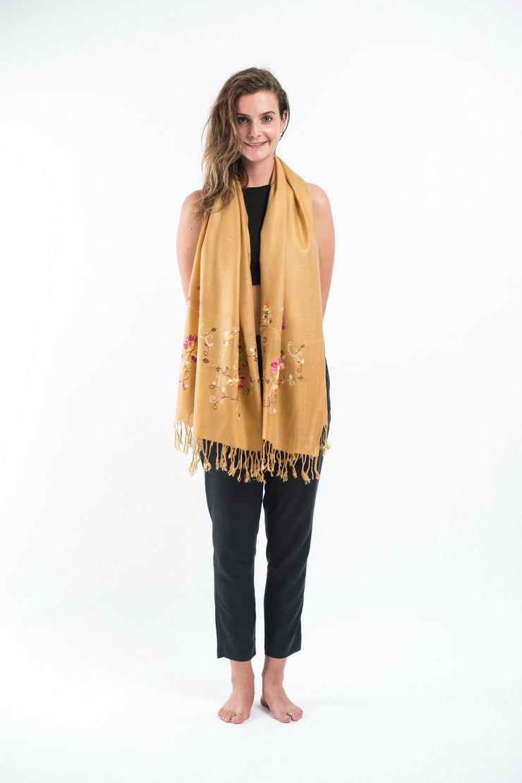 Nepal Floral Embroidered Pashmina Shawl Scarf in Gold