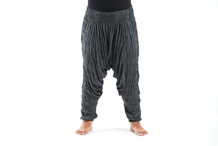 Plus Size Unisex Crinkled Cotton Harem Pants in Black